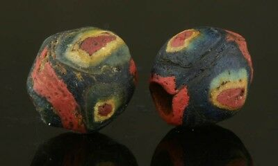 Ancient glass beads: TWO European Late Roman/Migration period mosaic beads