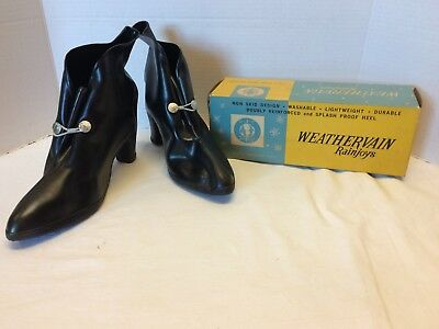Vintage Over Spike Heel Shoe rubber Boots Rain Weathervain Women Sz 8 NEW NOS