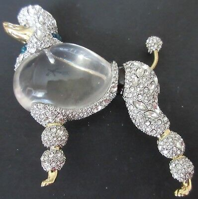$795 Alexis Bittar Large Lucite Jelly Belly Strolling Poodle Runway Necklace Pin