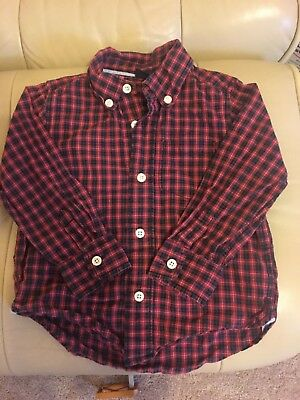 Baby Gap boy size 3t red and black plaid button down long sleeve shirt