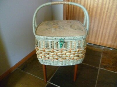 LARGE VINTAGE WICKER SINGER SEWING BASKET on removable timber legs mint green