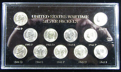 11 Coins - 1942 to 1945 Uncirculated Silver War Nickel Set - Very Nice!(0119234)