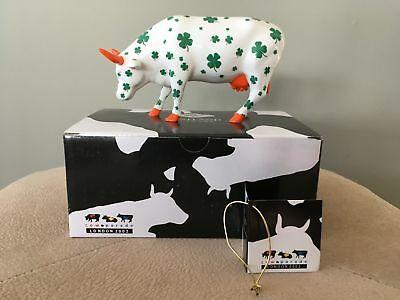 Cow Parade 2002 Lucky Cow in Box with Tag #6006 St. Patrick Shamrocks