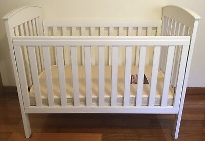 Baby Cot, BabyCo, White, Wooden with Mattress and Sheets
