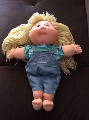 Cabbage Patch Kids 1982 blonde hair blue eye doll in overalls