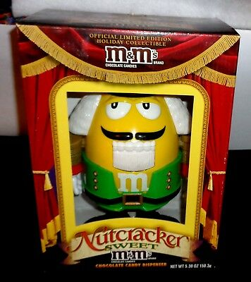 M & M Collectible Nutcracker Dispenser Yellow with Red M&M Button New No Candy