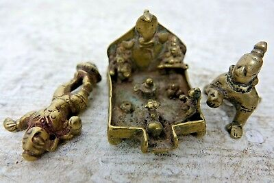 Collection Of 3 Early Miniature Indian Brass Pieces - Interesting Examples -Rare