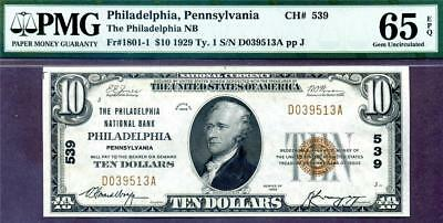 HGR FRIDAY 1929 $10 National ((Philadelphia Nat'l Bank)) PMG GEM UNC 65EPQ