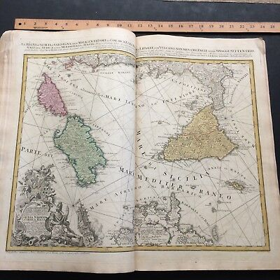 Rare Antique  Homann World Atlas Scholasticus 31  Maps Original Colors 1750'