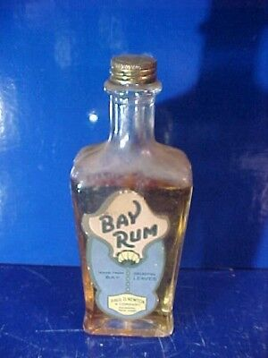 1930s BAY RUM Advertising BARBER SHOP BOTTLE w Orig Contents