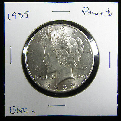 1935 $1 Peace Dollar. Uncirculated. Tougher date and very nice!  (0119242)