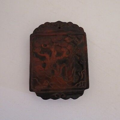 Chinese double side carved amulet pendant brown color #1