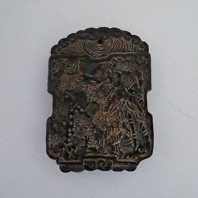 Chinese double side carved amulet pendant brown color #2