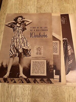 ANN RUTHERFORD - Vintage 1939 Fashion Clippings - 3 Pages