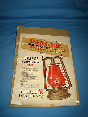 VTG 1940 Texaco Dealers Print Ad Advertising Danger Lantern Winter Lubricants!