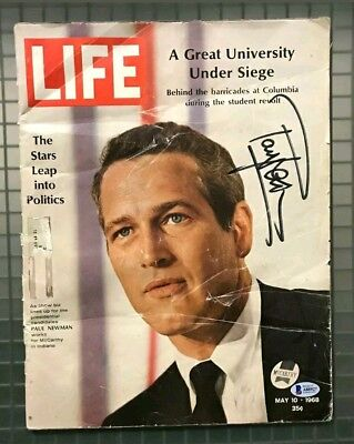 BAS COAPaul Newman Signed 1968 LIFE Magazine Beckett AUTHENTIC RARE!!