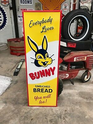 """NICE """"BUNNY BREAD"""" LARGE EMBOSSED METAL SIGN, 42""""x 14"""" EXCELLENT CONDITION"""