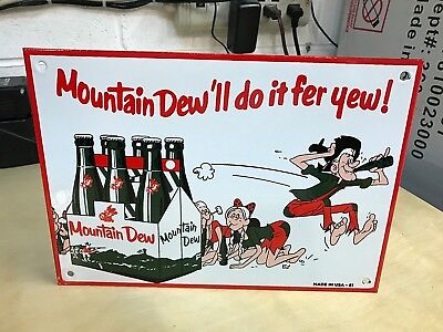 """Nice 'mountain Dew"""" Porcelain Advertising Sign, (Made In Usa - 61), Near Mint"""