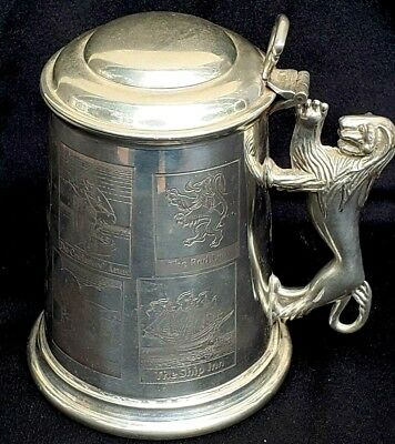 Vintage English Pewter Lidded Beer Stein The King's Head Sheffield England 5 1/2
