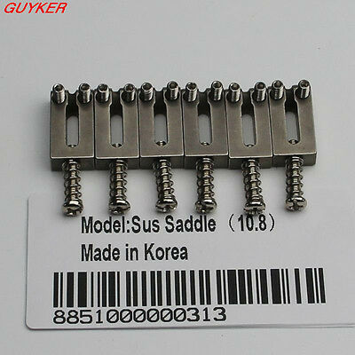 New Stainless Set Of  6 Steel Bridge Saddles 10.8MM For Tremolo Guitar Bridges