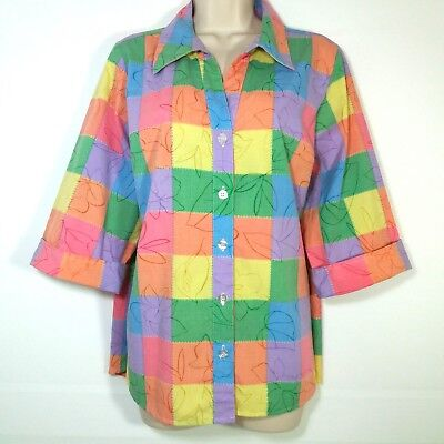 f4659c9b69693 Rebecca Malone Womens Size 1X Blouse Shirt Button Front 3 4 Sleeve Colorful