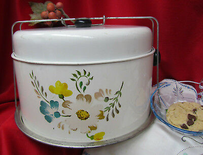 VTG Metal Pie Cake Carrier~4 Piece~Complete~ Turquoise Gold Avocado Green Floral