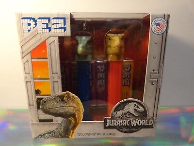 Jurassic World Pez Dispensers T-Rex & Blue The Raptor w 6 Rolls Pez Candy