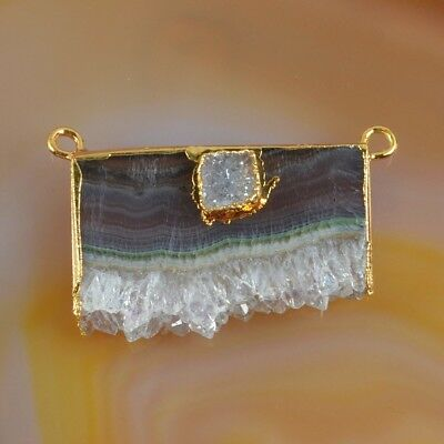 Rare Amethyst Druzy Slice & Agate Druzy Connector Gold Plated H129230