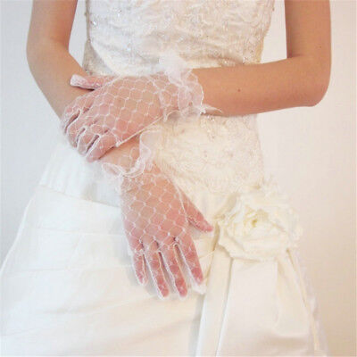 Women's Lady Ivory Lace Wedding Gloves Wedding Bridal Party Gloves White