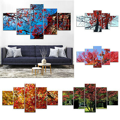 Maple Tree Canvas Print Painting Framed Home Decor Wall Art ff Poster 5Pcs