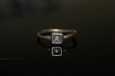 Beautiful Ladies Medieval Silver Cross Finger Ring. 1351-2. Wearable.