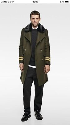559ee800 Zara Coat Man Military Army Style Coat Trimmed Coat Khaki Green Size Uk-L  Bnwt