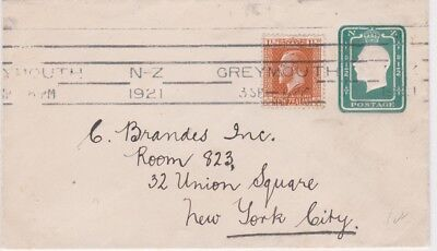 New Zealand-1921 Uprated KGV 1/2d green PS letter Greymouth cover to USA