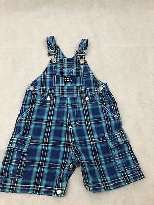 FRED BARE retro size 2 Boys summer Blue check overalls dungarees