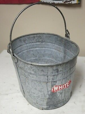 Vtg White Janitors Mop Bucket With Original Label Still Attached