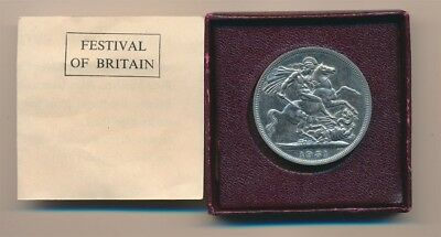 Great Britain: 1951 British Festival St. George 5/- Crown Cased with Certificate