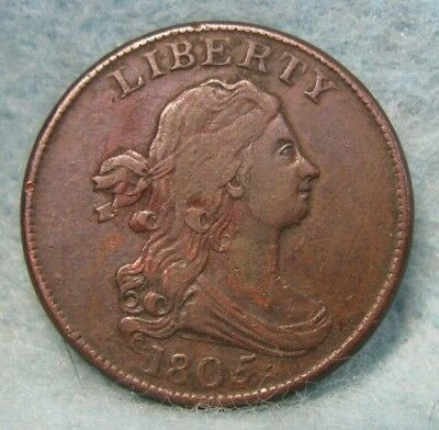 1805 DRAPED BUST HALF CENT XF * US Coin