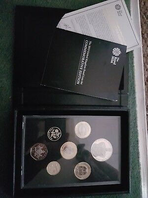 2013 Royal Mint  Commemorative Proof 7 Coin Set in leather style case, coa.