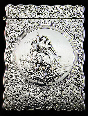 c1905, SCARCE ANTIQUE STERLING SILVER CALLING CARD CASE, UNUSUAL DESIGN, LOVERS