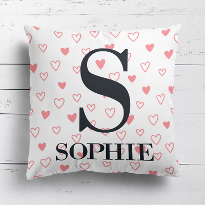 Personalised Name & Initial Kids Childrens Cushion Cover Pillow Pink Love Hearts