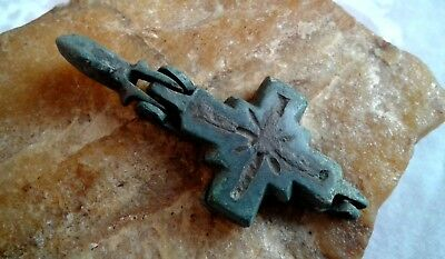 "MEDIEVAL 10-13th CENTURY ENGRAVED BRONZE RELIQUARY CROSS ""ENKOLPION"" (OPENED)"