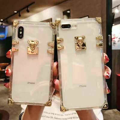 Luxury Clear Plating TPU Square Case Leather Cover for iPhone XS MAX XR X 8 7 +