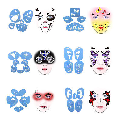 6 Sets Reusable Plastic Face Painting Body Art Stencil Template Stage Makeup