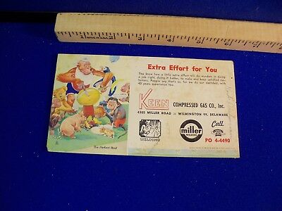 Vtg KEEN Gas Blotter card Monkey party Animals advertisement WILMINGTON Delaware