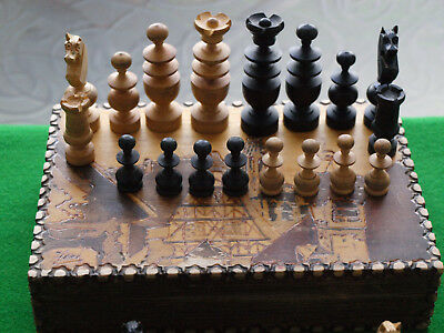 "Large antique French Regency Chess Set (K= nr.3"") + attractive wooden box"
