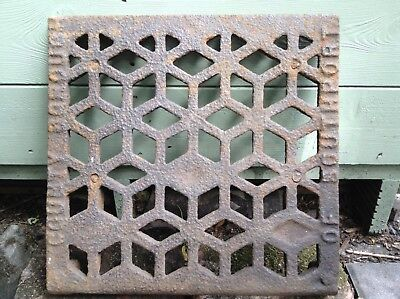 Victorian Vintage Salvage Cast Iron Cover Grid Grill Grate Fret Garden Art