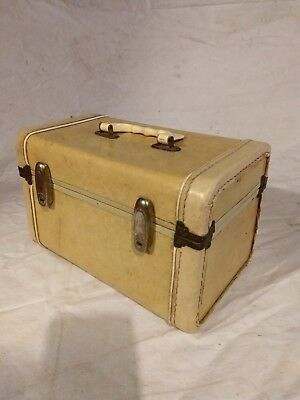 Vintage Samsonite Streamlite Tan Marble Hard Train Case Travel Cosmetic Luggage