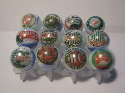 SINCLAIR DINO ect. gasoline oil MARBLES 5/8 SIZE COLLECTION LOT + stands