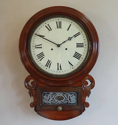 Antique Victorian American Drop Dial Wall Clock Chiming 8 Day Movement c1880