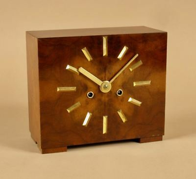Very Stylish Art Deco Walnut and Ormolu Mantel Clock.